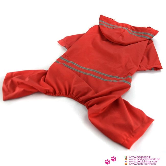 Imperméable Rouge 4 Pattes pour Chien Moyen ou Grand - Imperméable de couleur Rouge à 4 Pattes pour un Chien de taille moyenne ou Grand avec tailles disponibles également pour le Labrador, berger allemand