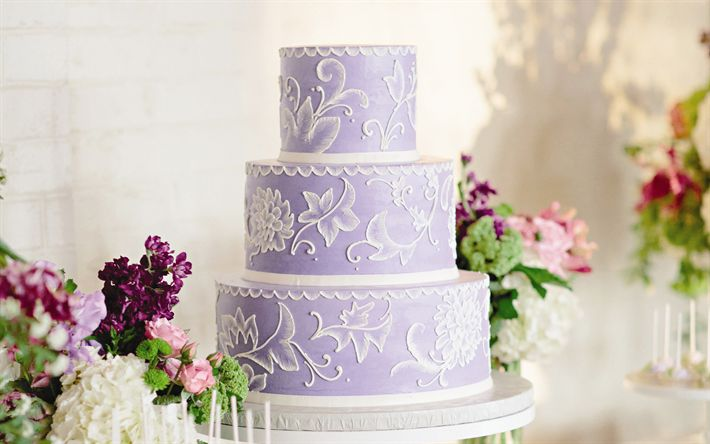 Descargar fondos de pantalla Púrpura pastel de bodas, dulces, bodas, tortas
