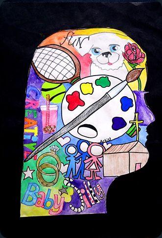 self portrait based on artist Archimbaldo, 4th/5th grade, 3 descriptive words and 3 symbols