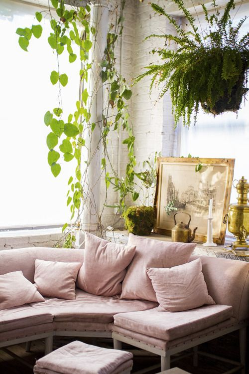 Love the pale pink upholstery, the hanging plants and flee market scores. Quiet, homey, livable, cool.