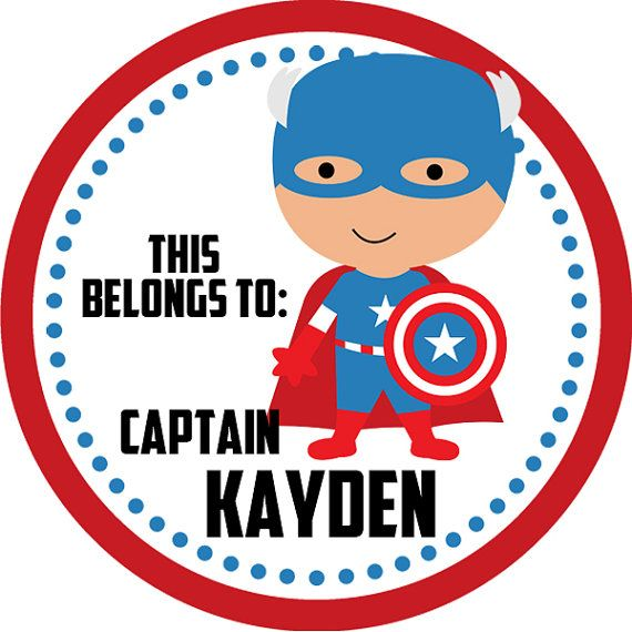 Personalized Name Label Stickers - Red, Blue Polka Dot, Captain Superhero Name Tag Stickers - 2 inch Round Tags - Back to School Name Labels