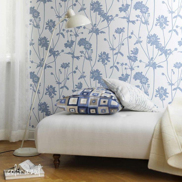 Las 25 mejores ideas sobre papel pintado flores en for Papel pintado azul