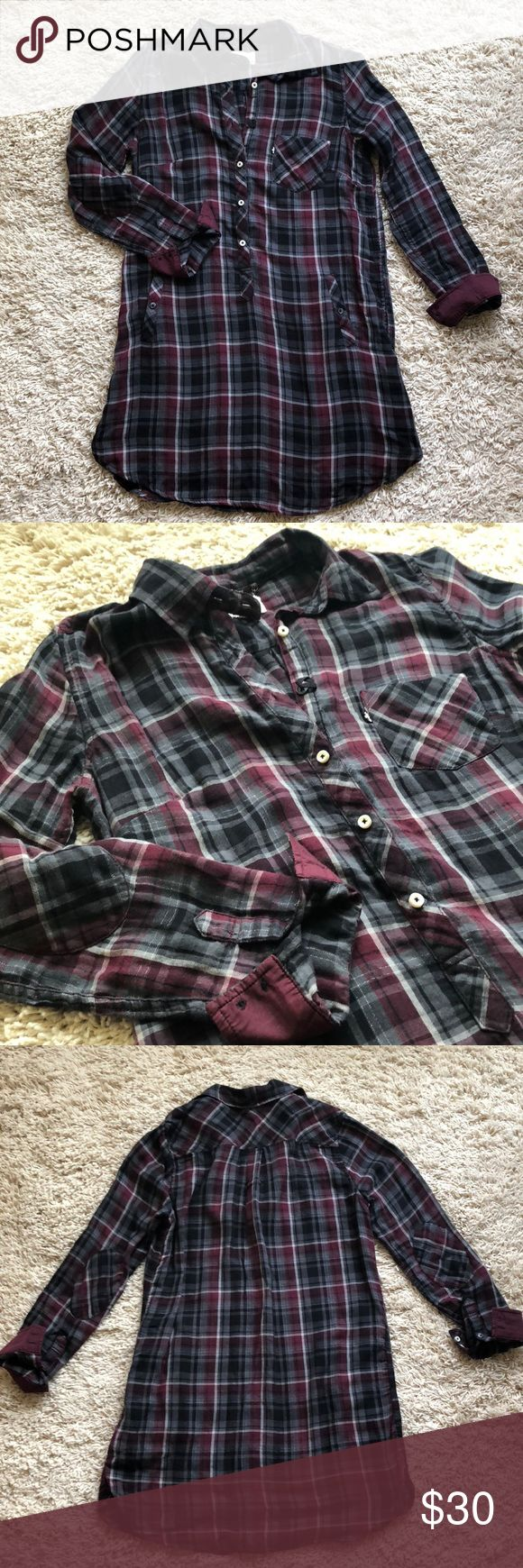 Levi's Double Cloth Plaid Tunic Shirt Cute shirt dress or tunic for those taller. Fabric has silver lurex in it. Great condition! Levi's Tops Tunics