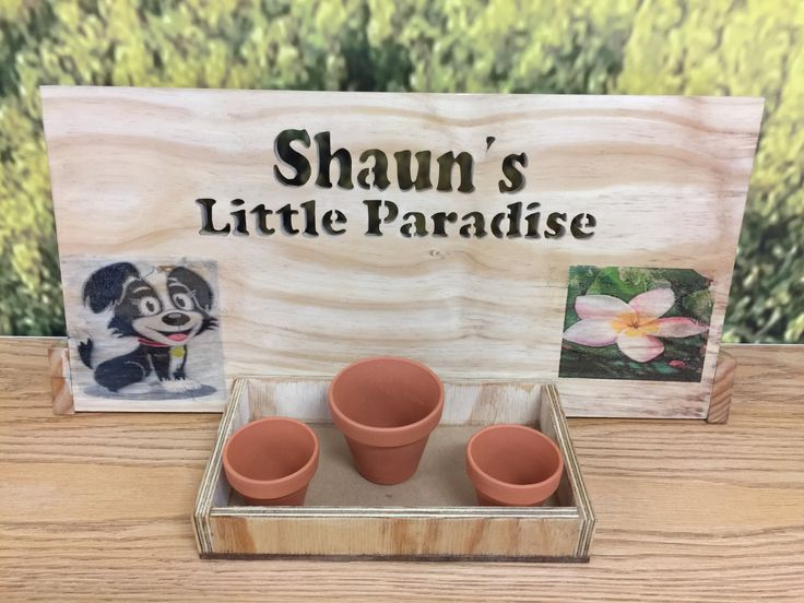 Handcrafted Wood Sign Frame with Terracotta Planters.Made from Pine Wood and Letters were scrolled saw.