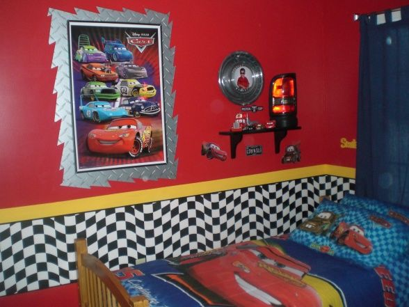CARS, Boys Bedroom Who Loves CARS, Checkerboard Border And Border Around  Poster Frames Is Diamond Plate Wallpaper From Lowes Hub Cap Picture.