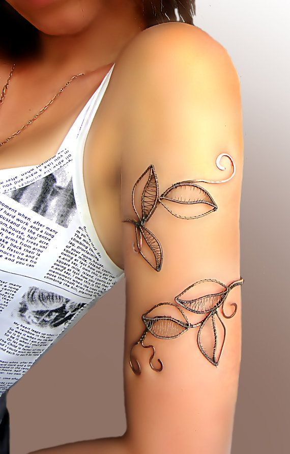 "Upper arm wrap ""Forest nymph"", upper arm cuff, Jewelry, arm bracelet, copper jewelry, arm cuff, silver bracelet, silver jewelry"