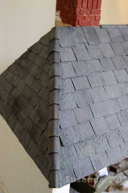 How to make a slate roof from egg cartons