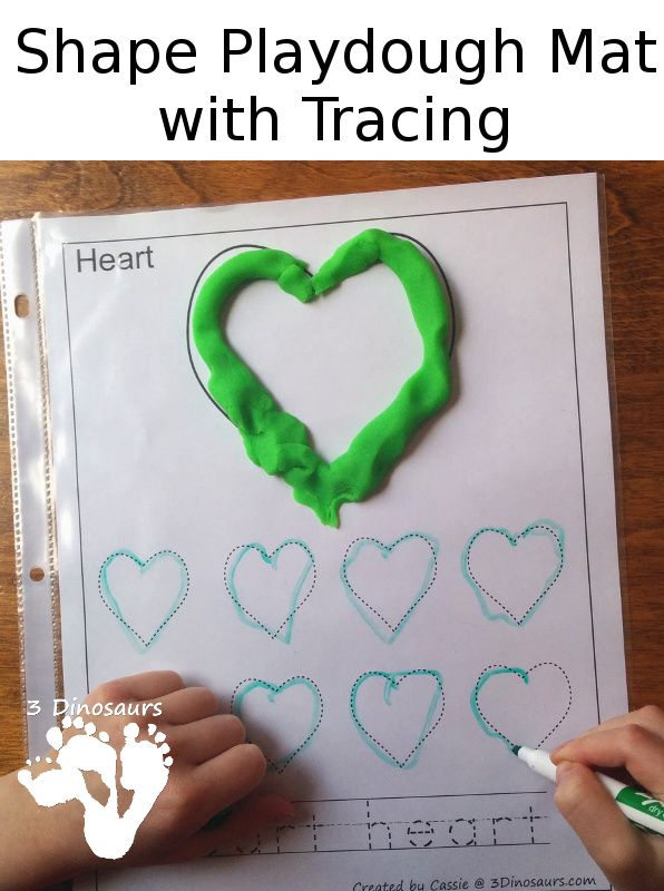 FREE Shape Playdough Mat with Tracing Shape & Word - 3Dinosaurs.com