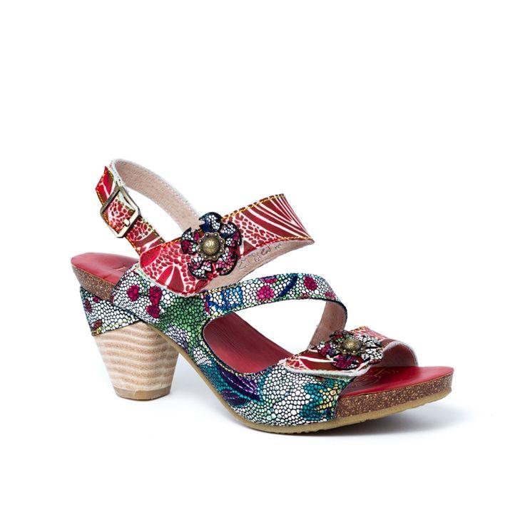 DAX ROUGE la chaussure escarpin dax 12 de laura vita est tout à fait charmante  avec son petit talon conique et son cuir multicolore ! ce nu-pieds à talon haut en cuir imprimé pyhton style jungle  nous offre un savoureux mélange de couleurs et de bonne humeur. son petit plus ? il s'adapte à votre pied grâce à deux brides velcro agrémentées d'une fleur en cuir  au niveau du coup de pied et des orteils. la semelle intérieure en cuir procure douceur et relaxation aux pieds délicats. la semelle…