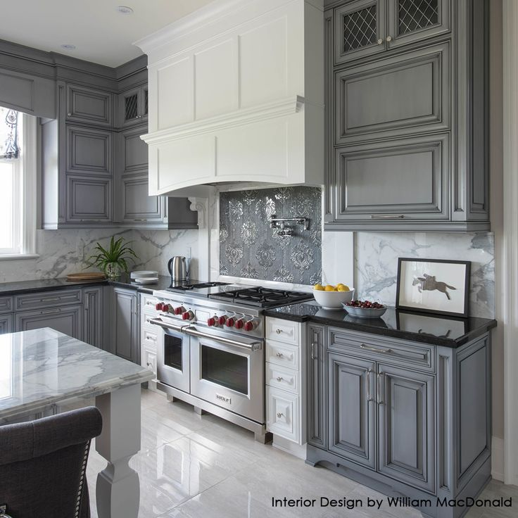 New White Cabinets with Gray Glaze