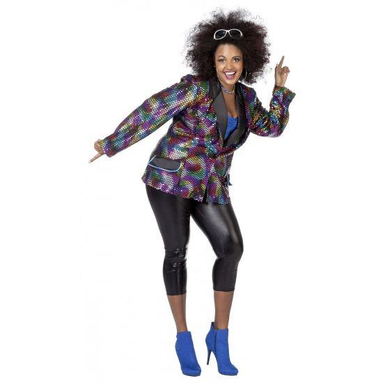 Grote maat disco jas voor vrouwen. Deze getailleerde disco jas voor vrouwen is geschikt voor elke party. Wij verkopen ook bijpassende disco feestartikelen in onze winkel.