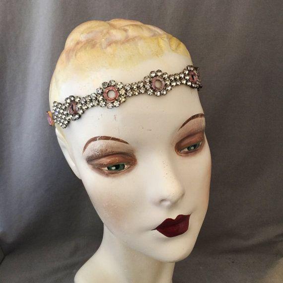 Edoardiana, strass Teens, incolla 1920s Gatsby, archetto, Band di mal di testa, copricapo, corona nuziale, di vetro di Vauxhall lavanda insolito