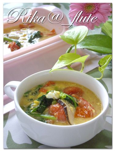 トマトとほうれん草のとろみ卵スープ ルクエで簡単スープ by りかりん ...