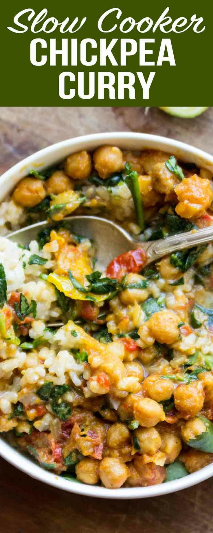 This Slow Cooker Chickpea Curry a set-it-and-forget-it meal. Just pile all the i…
