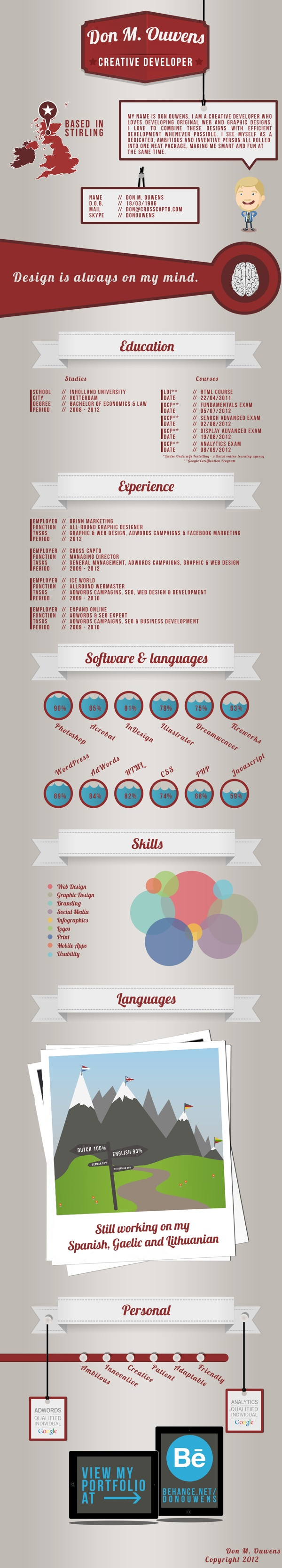 17 best images about designer resume infographic my infographic resume by don ouwens via behance