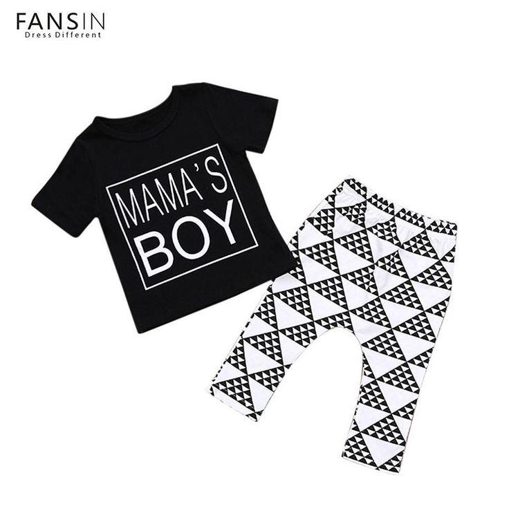 FANSIN 2pcs/Set Infant Baby Boy Clothes Set Summer Short Sleeve Black T-Shirt+Geometry Pants Newborn Kids Baby Clothing Outfits #KidsFashionSummer #babyboyoutfits