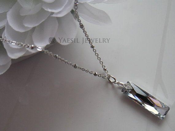Crystal Necklace Unisex Necklace Swarovski by YaesilJewelry
