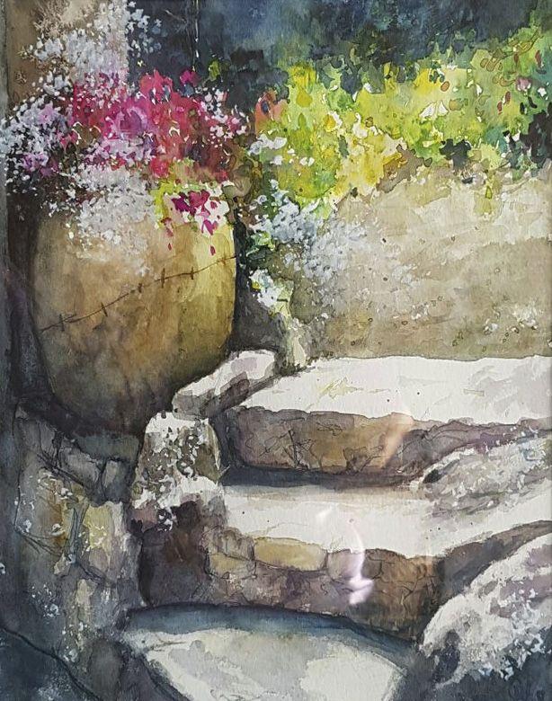Escalier Aquarelle Pot Pierre Dessin Art Tableau Peinture