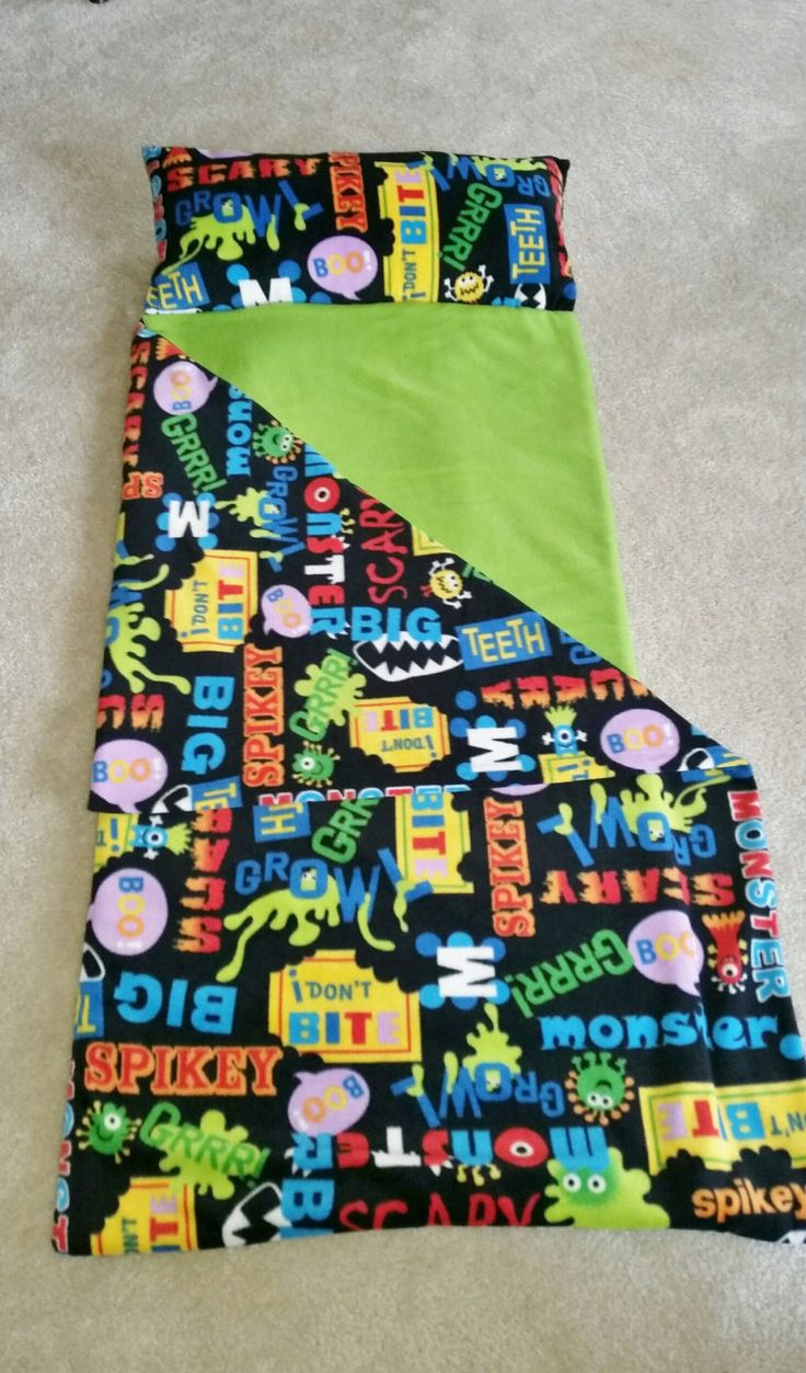 Nap Sack Colorful Kids Sleeping Bag Fun Scary Monsters By Suitedreamcreators On Etsy