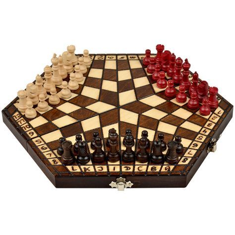 An exotic and unique chess set for 3 players. The chessboard is crafted with beech and birch and its size is very portable and can considered a wonderful travel set as well. The board has three compar