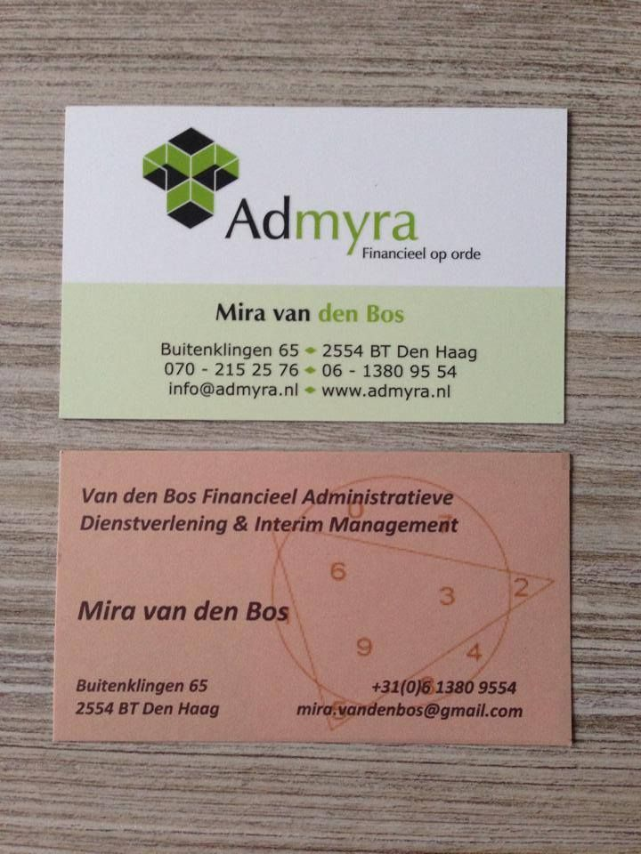 Nieuwe visuele identiteit van Admyra. Werkzaamheden: bedrijfsnaam, slogan, logo, visitekaartjes, briefpapier, enveloppen, website, gevelreclame