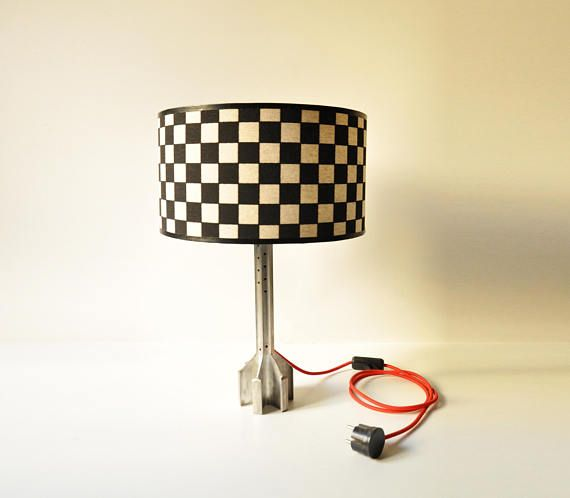 Start your engines. Handcrafted Checkered Flag Desk Lamp /