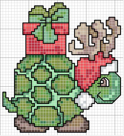 Schema punto croce Tartaruga-natale