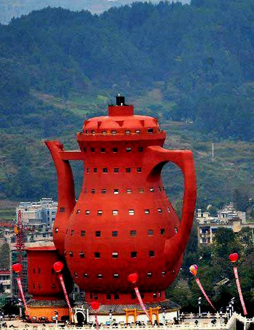The Museum of Tea Culture, in China's Meitan County, is shaped like a giant teapot.
