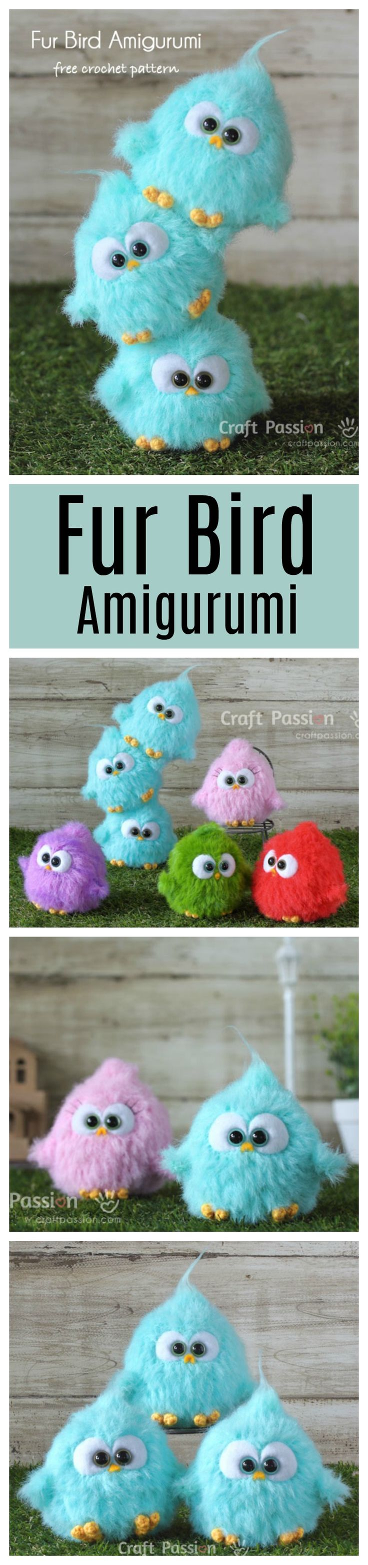 Free crochet pattern: fur bird amigurumi