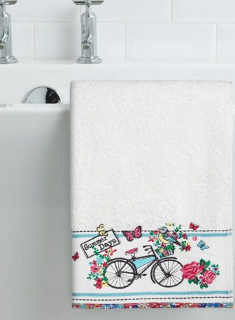 Multicoloured vintage bicycle embroidered hand towel - patterned towels - towels  - Home, Lighting & Furniture
