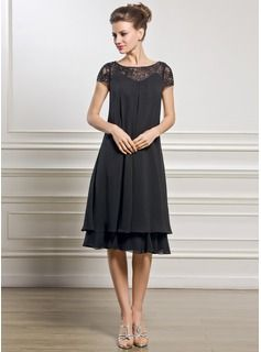 Empire Scoop Neck Knee-Length Chiffon Lace Mother of the Bride Dress With Beading Sequins (008057066) - JJsHouse