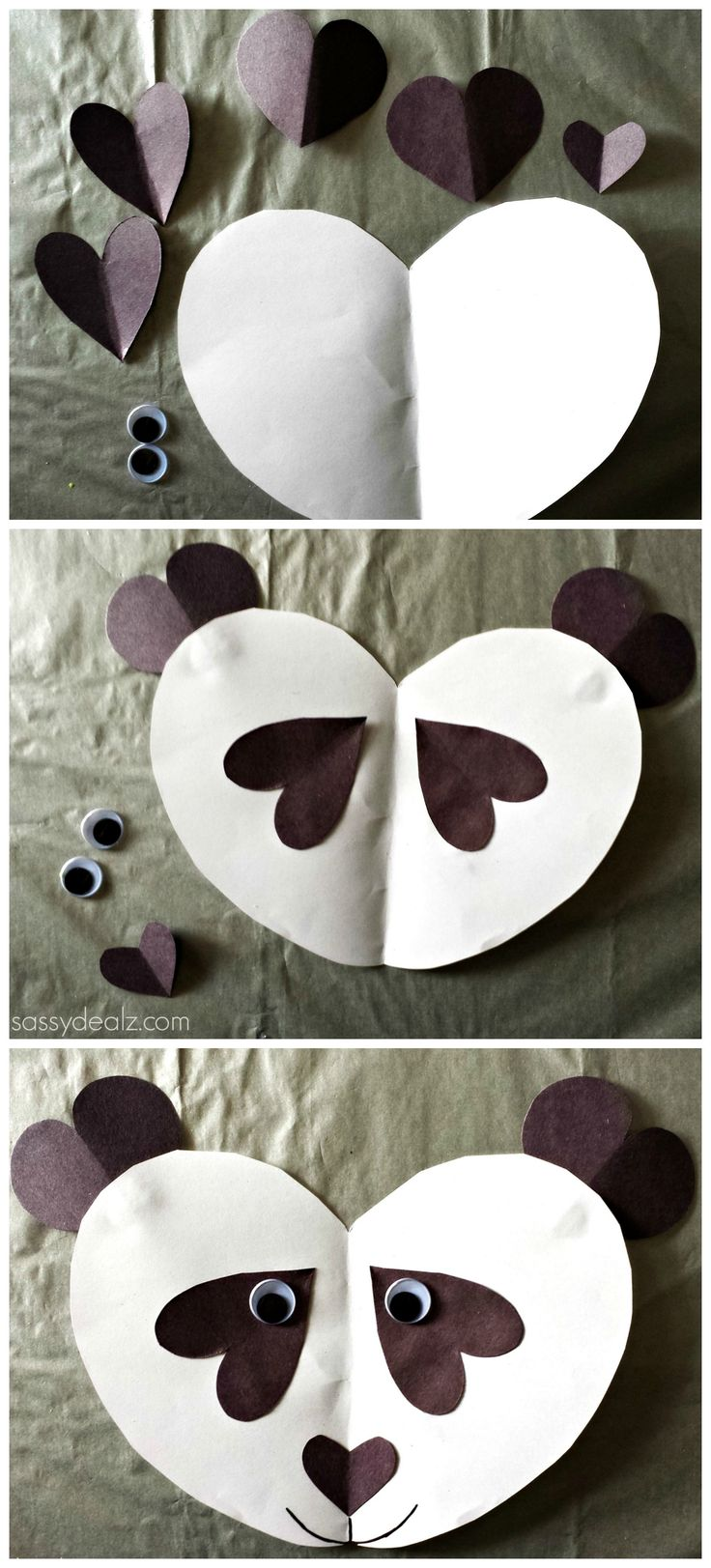 Panda Craft For Kids! Made out of paper hearts! #Valentines craft #Art project #DIY #Cheap | http://www.sassydealz.com/2014/02/panda-bear-craft-for-kids.html