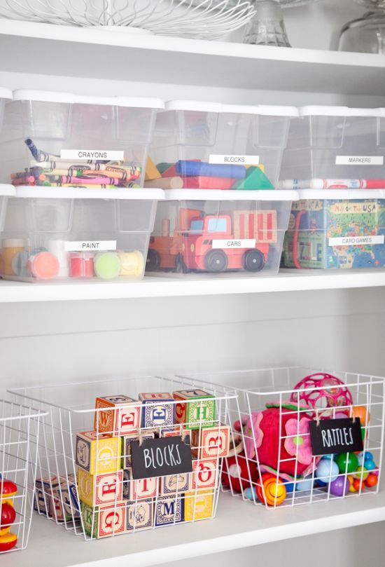 Toy/ craft/ kids' things organized. Organization with shelves/ closet.