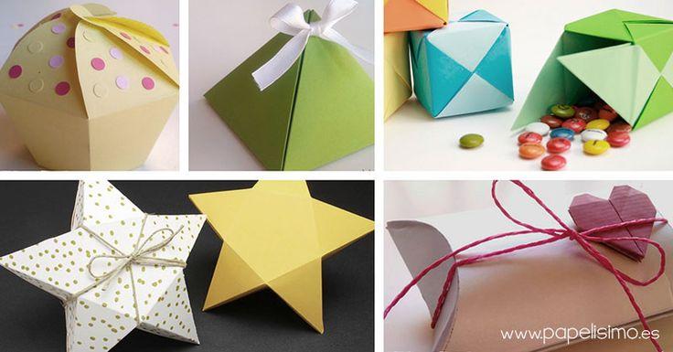 5 cajas de regalo con plantilla gratis. Listas para imprimir, recortar y pegar.