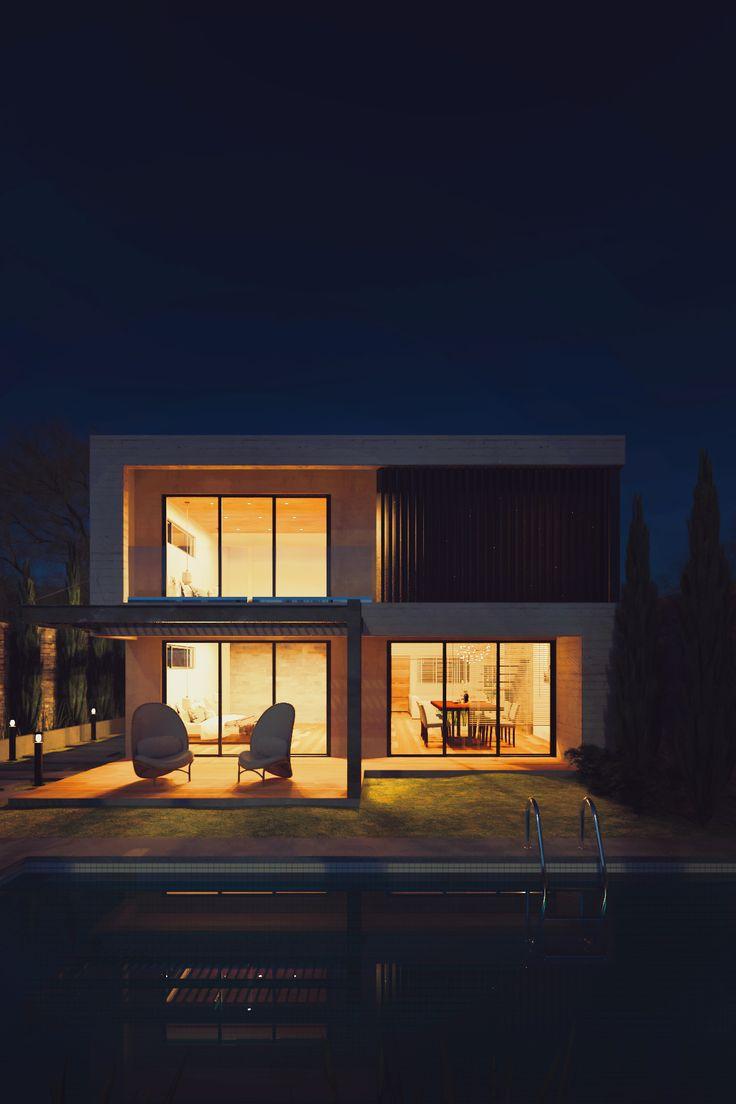 Beachfront Luxury Modern Home Exterior At Night: Modern Home Exterior Night - Rendered In KeyShot