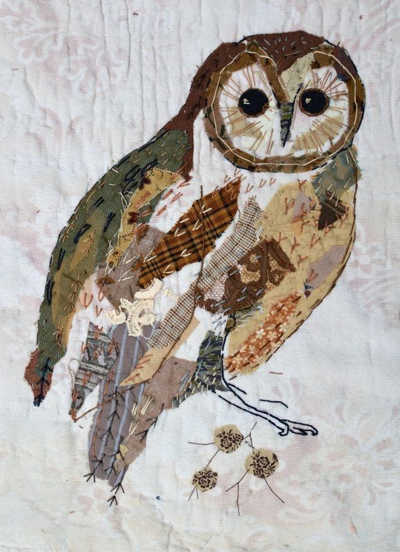 Mandy Pattullo (English, fabric artist and printer) | Owl, from 'Enchanted Forest' | Hand-stitched textile collage using fabric scraps
