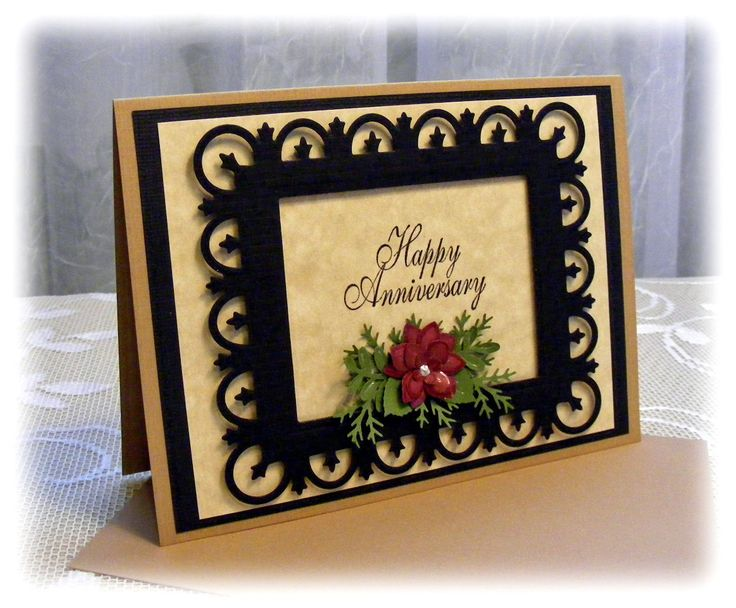 Elegant Handmade Anniversary Card with 3D flowers. $4.00, via Etsy.