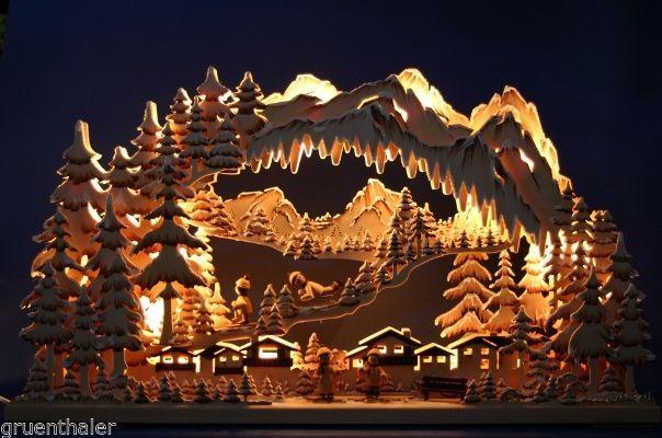 3D-Schwibbogen Erzgebirge Pyramide geschnitzt erzgebirgischer Lichterbogen Neu