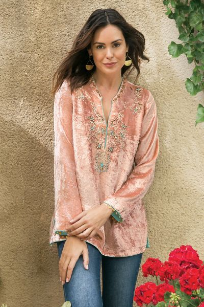 Extravagant embellishments accent our Moroccan Velvet Tunic! Velvet is a big trend for fall and this is a stylish way to wear it. Style it with jeans or even your favorite black pants.