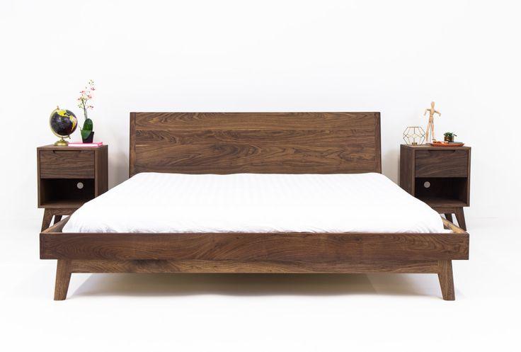Best Walnut Platform Bed Frame Mid Century Modern Bed Wood 400 x 300