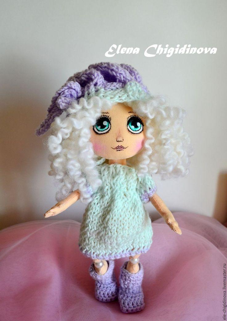 Купить Текстильная интерьерная кукла - васильковый, подарок, подарок девушке, подарок женщине, подарок подруге