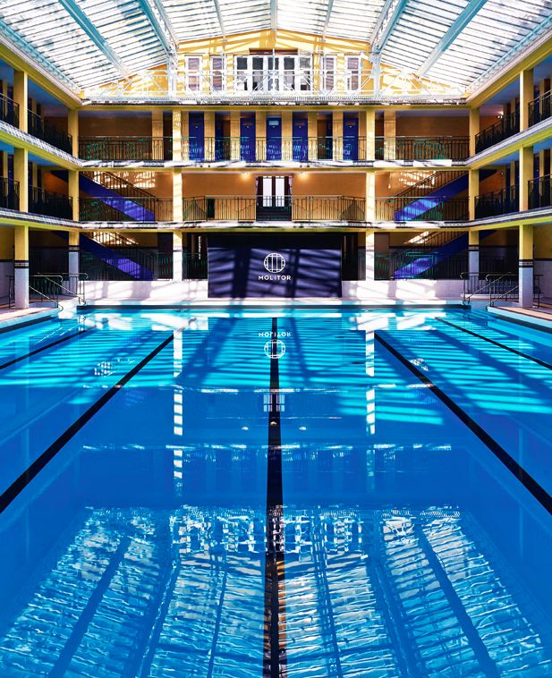 Summer. View of the pool at Hotel Molitor Paris, France. Gorgeous skylights over the Piscine d'Hiver.