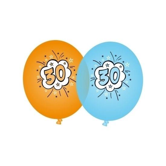Oranje en blauwe ballonnen 30 jaar. 4 oranje en 4 blauwe ballonnen met 30 opdruk. Omvang opgeblazen ballon: 90 cm.