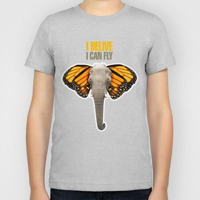 BUTTERFLY ELEPHANT Kids T-Shirt by VINSPIRO - $20.00
