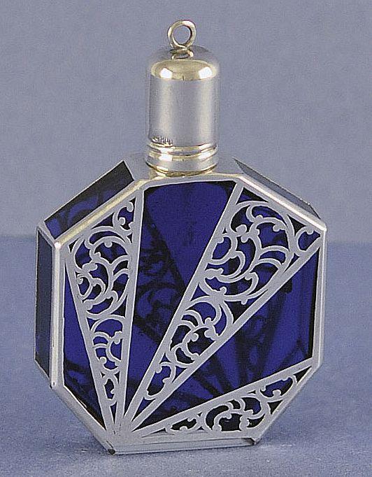 Vintage, German, Sterling Silver Filigree & Cobalt Blue Glass Perfume Bottle