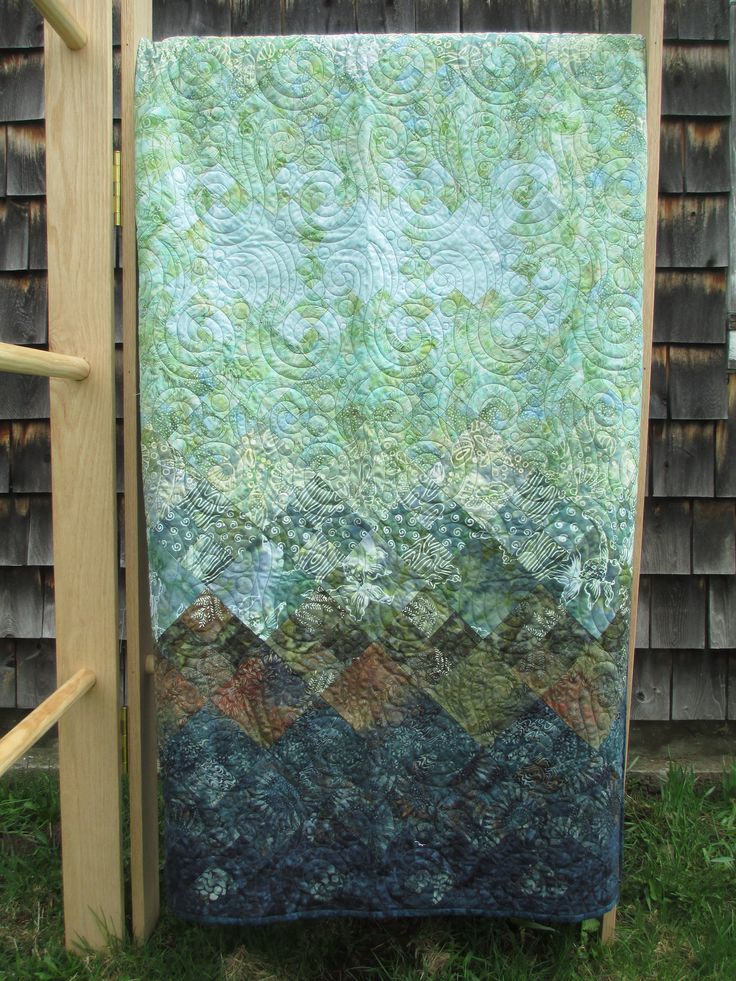 Batik Quilt in Blues and Greens Twin Full Double OOAK by Tessasquiltshop on Etsy