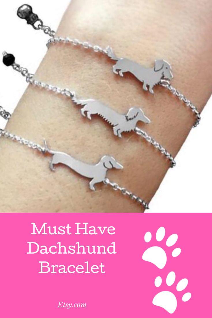 8a444353bce85 Dachshund Bracelet - Long Haired Dachshund Jewelry, Silver Dachshund ...
