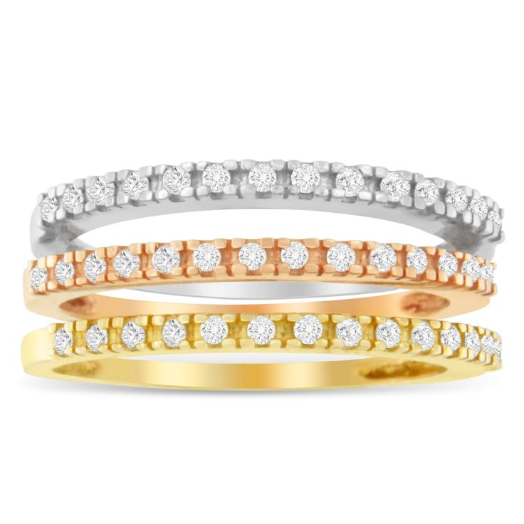 14k Tri-Toned Gold 1/4ct. TDW Round Cut Diamond Three Band Ring