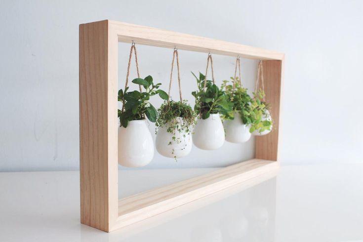 Indoor Herb Garden In Wooden Frame Wall Mount Planter