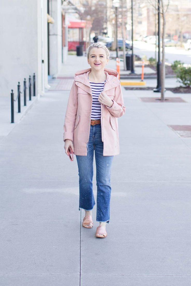 Abercrombie Pink Classic Raincoat - Poor Little It Girl. White and navy striped tee+straight cropped jeans+blush slides+blush raincoat+sunglasses. Spring Casual Outfit 2017